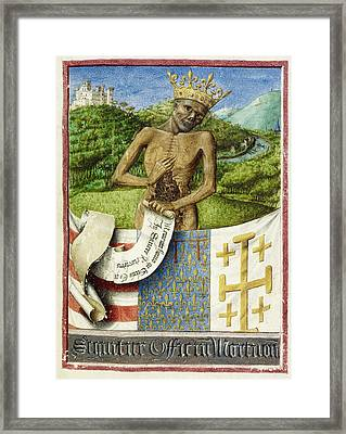Skeleton; Arms Of Rene D'anjou Framed Print by British Library