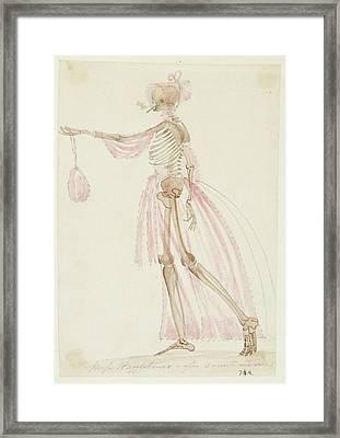 Skeleton In Pink Dress Framed Print