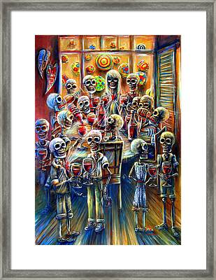 Skeleton Wine Party Framed Print