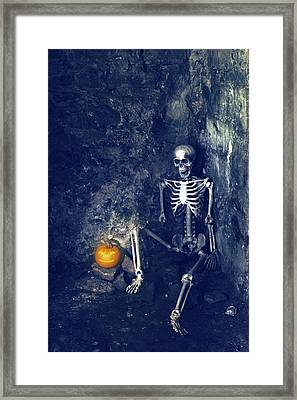 Skeleton With Jack O Lantern Framed Print by Amanda Elwell