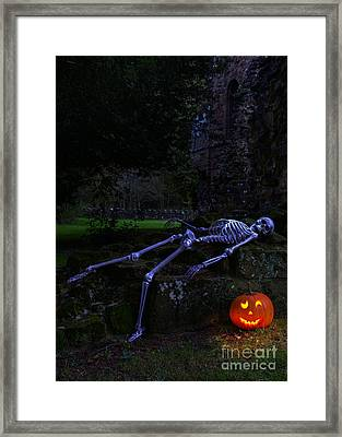 Skeleton With Pumpkin Framed Print by Amanda Elwell