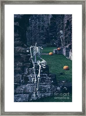 Skeletons In Old Abbey Framed Print by Amanda Elwell