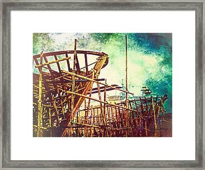 Skeletons In The Yard - Boatbuilding In Ecuador Framed Print