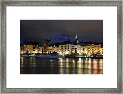 Skeppsbron At Night Framed Print by Jeremy Voisey
