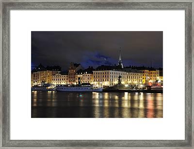 Skeppsbron At Night Framed Print