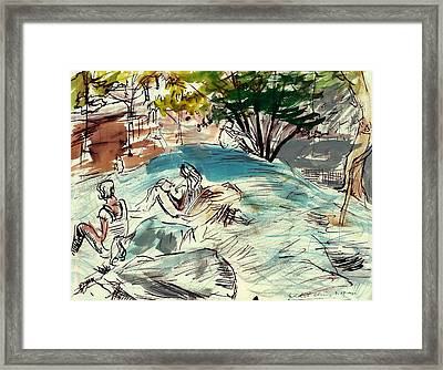 Sketch Artists In Central Park Framed Print by Edward Ching