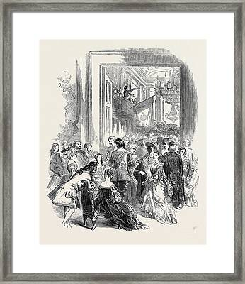 Sketch From The Grand Polish Ball, At Williss Room Framed Print by English School