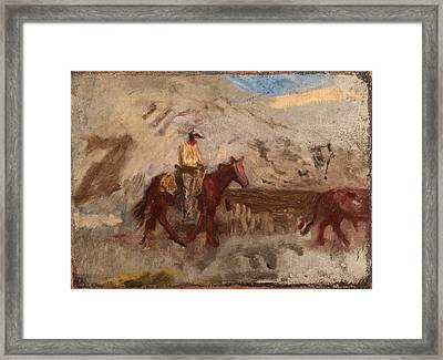 Sketch Of A Cowboy At Work Framed Print