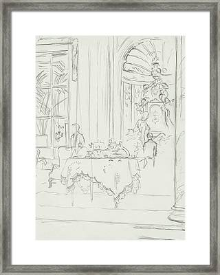 Sketch Of A Formal Dining Room Framed Print by Carl Eric Erickson