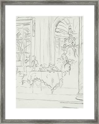 Sketch Of A Formal Dining Room Framed Print