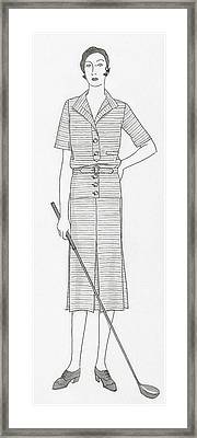 Sketch Of A Woman Holding Golf Club Framed Print by Polly Tigue Francis