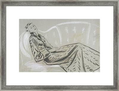 Sketch Of A Woman Wearing A Matelasse House Robe Framed Print