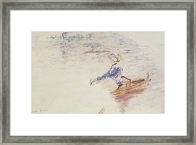 Sketch Of A Young Woman In A Boat Framed Print