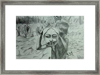 sketch of Child playing with God Framed Print by Deb