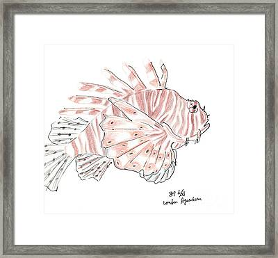 Framed Print featuring the drawing Sketch Of Lion Fish At London Aquarium by Jingfen Hwu