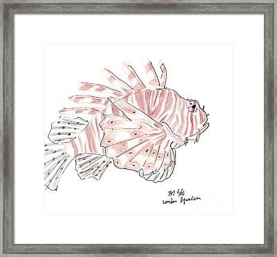 Sketch Of Lion Fish At London Aquarium Framed Print