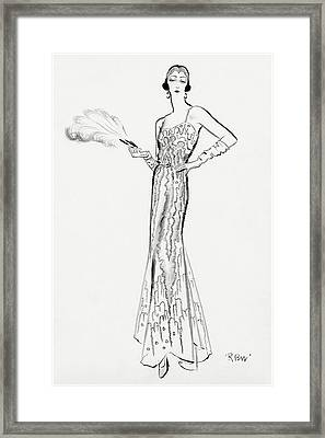 Sketch Of Munoz Wearing Evening Gown Framed Print by Ren? Bou?t-Willaumez