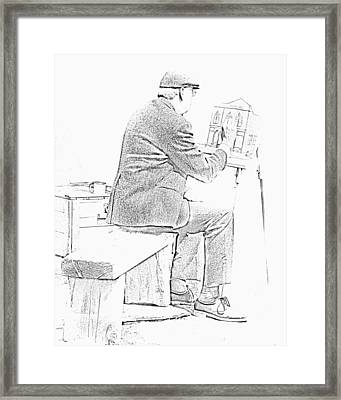 Sketch Of Old Man Painting  Alberta Framed Print by Ron Harris
