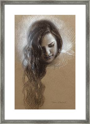 Sketch Of Samantha Framed Print by Karen Whitworth