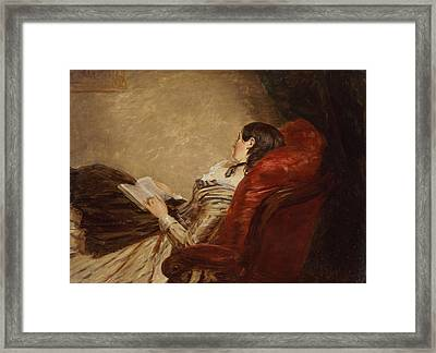Sketch Of The Artists Wife Asleep Framed Print by William Powell Frith