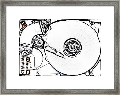 Sketch Of The Hard Disk Framed Print by Michal Boubin