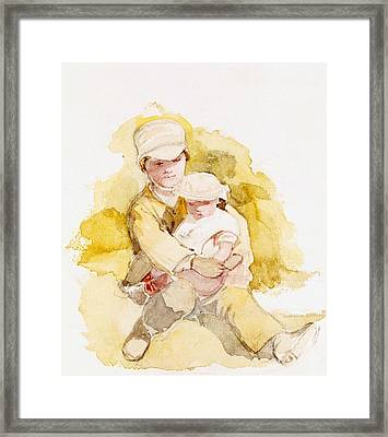 Sketch Of Two Children, C.1852 Framed Print by Richard Redgrave