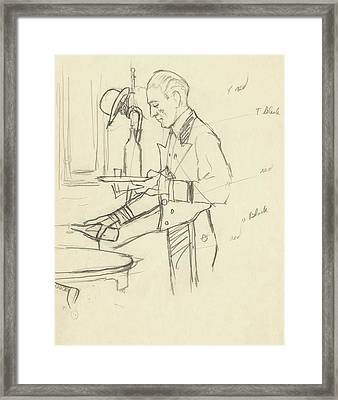 Sketch Of Waiter Pouring Wine Framed Print by Carl Eric Erickson