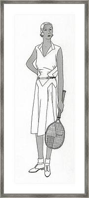 Sketch Of Woman In Tennis Dress Framed Print