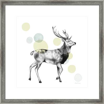 Sketchbook Lodge Stag Neutral Framed Print