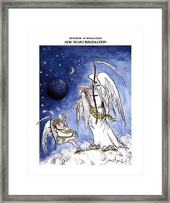 Sketchbook New Year's Irresolution Framed Print by Ronald Searle