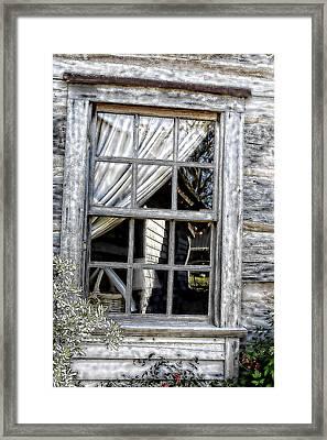 Sketched Vintage Window Framed Print by Linda Phelps