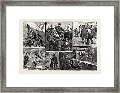 Sketches At The Volunteer Camp, Wimbledon, Engraving 1884 Framed Print