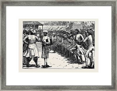 Sketches From India Muster Of The Irregular Troops Framed Print by Indian School