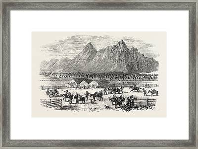 Sketches In British Columbia Scene At The Fountain Framed Print