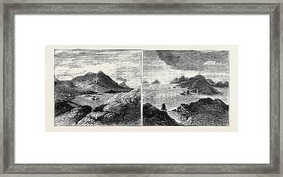 Sketches In The Lipari Islands Left Image Vulcanello Framed Print