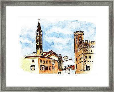 Sketching Italy Florence Towers Framed Print