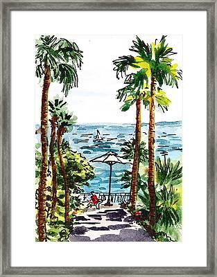 Sketching Italy Palm Trees Of Sorrento Framed Print by Irina Sztukowski
