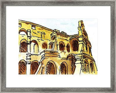 Sketching Italy Rome Colosseum Ruins Framed Print