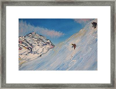 Ski Alaska Heli Ski Framed Print by Gregory Allen Page