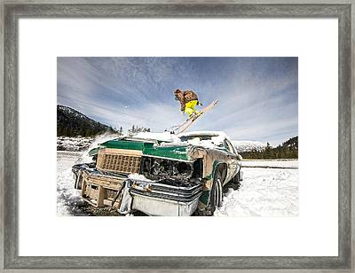Ski Freestyle - Skier Jumping Over Vintage Car Framed Print by Alejandro Moreno de Carlos