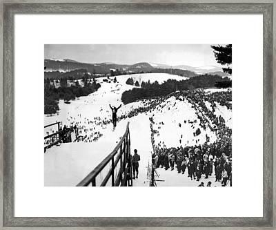 Ski Jumper At The Dartmouth Carnival Framed Print