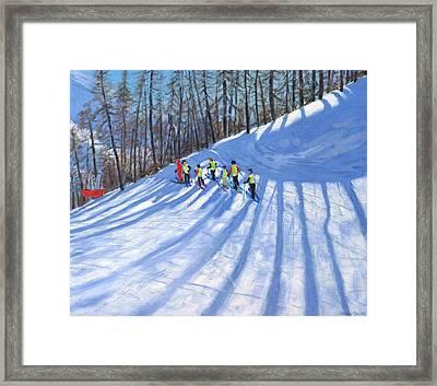 Ski Lesson Framed Print by Andrew Macara