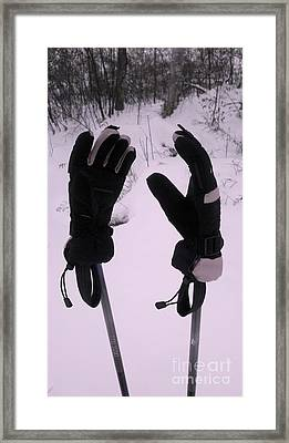 Ski Poles Framed Print by Polly Anna