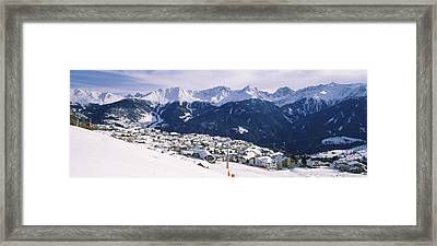 Ski Resort With Mountain Range Framed Print by Panoramic Images