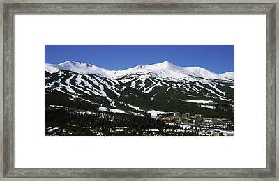 Ski Resorts In Front Of A Mountain Framed Print by Panoramic Images