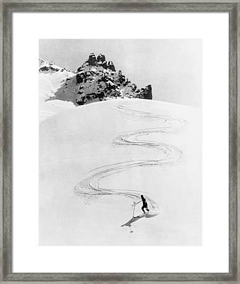Ski Trail Down A Mountain Framed Print by Underwood Archives