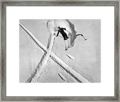 Ski Training At Banff Framed Print by Underwood Archives