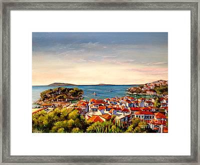 Skiathos Panorama Framed Print by Yvonne Ayoub