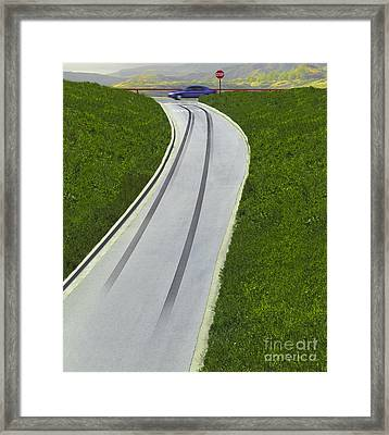 Skid Marks On Exit Ramp Framed Print
