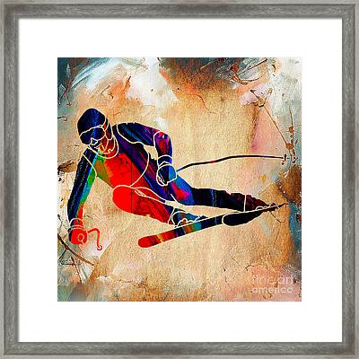 Skier Painting Framed Print by Marvin Blaine